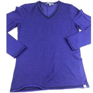 Title Nine Blue Striped Vagabond V Neck Sweater